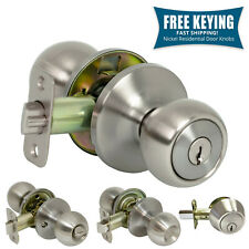 Pro-Grade Classic Door Knob Handle Keyed Entry Home Hardware, Satin Nickel