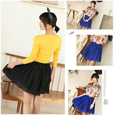 Women Retro Double Layer Chiffon High Waist Pleated Short Sexy Mini Pompon Skirt