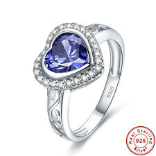 Engagement Heart Cut Tanzanite White Topaz 925 Sterling Silver Ring Size 6 7 8 9