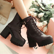 Womens Lace Up Ankle Boots High Platform Block Heels Round Toe Shoes GT-150