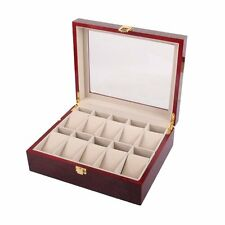 10 Slot Wooden Watch Storage Box Glass Top Display Case Jewelry Organizer