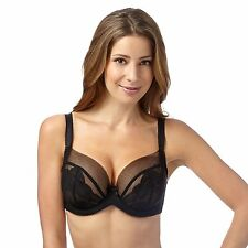 Gorgeous Dd+ Womens Black Lace Underwired Non-Padded Dd+ Balcony Bra