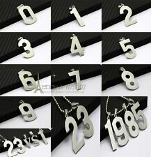 Numeral digital 0·9 pick Silver 316L Stainless Steel Titanium Pendant Necklace