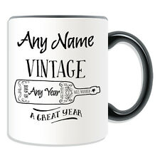 Personalised Gift Vintage Wine Your Year Mug Money Box Cup Fun Novelty Born Name