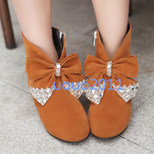 Cute Ladies Girls Bowknot Round Toe Ankle Boots Rhinestones Faux Suede Shoes Sz