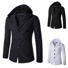 Men Stylish Fashion Slim Fit Hooded Collar Coat Korean Hoodie Jacket Hoody Small