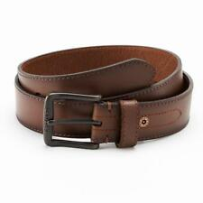 NWT LEVI'S MEN'S BELT CLASSIC GENUINE LEATHER LOGO BUCKLE 11LV02WH BROWN