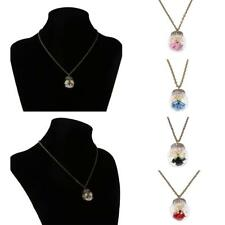 Girls Dried Flower Glass Ball Bottle Handmade Antique Pendant Clavicle Necklace