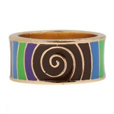 Ethnic Bright Color Whirl Geometric Enamel Finger Ring Band Jewelry 17/18 mm