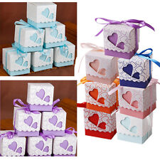 50/100 Pcs Love Heart Favor Ribbon Gift Box Candy Boxes Wedding Party Decorating