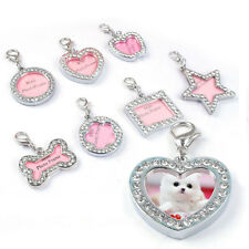 Pet ID Tags Crystal Rhinestone Personalized Puppy Pet Dog Cat Name Tag Charm