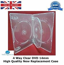 4 Way Clear DVD 14mm Spine Holds 4 Discs HIGH QUALITY NEW REPLACEMENT CASE