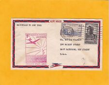 1939 -  Air Cover  Marseille, France to New York, USA - 1st air postal service