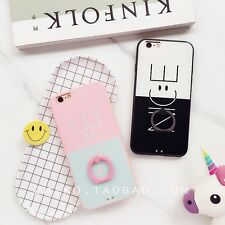 Cute Nice Smile Bi-Colored Finger Rings TPU Case Cover for iPhone 6 6S 7 7Plus