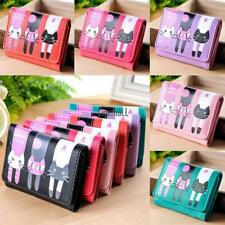 Womens Cat Pattern Coin Purse Clutch Leather Short Wallet Card Holders LM