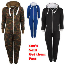 Kids Girls Boys Hooded Onesie Camouflage All In One Army Fleece Tracksuit Sizes