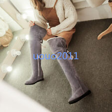 Womens Faux Suede Hidden Heel Fur Lined Over The Knee Boots Casual Shoes Plus Sz