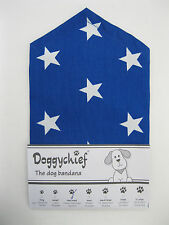 BLUE with white STARS Dog Bandana by Doggychief -  All sizes + other colours!