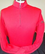 NEW MENS ADIDAS GOLF WARM LAYERING PULLOVER, UNIVERSITY RED/BLACK, PICK SIZE,$90