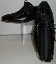 Mens Elegant Formal Black Satin Stripe Silvertip Dress Shoes Expressions 4925