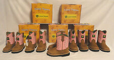 JOHN DEERE, TODDLER GIRLS PINK & TAN LEATHER COWBOY BOOTS, SIZE 4, NEW FREE SHIP