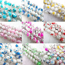 20Pcs/50pcs Jewelry Print National Lampwork Stained Glass Art Round/Flat Beads
