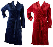 Ladies Soft Coral Fleece Plain Dressing Gown Shawl Collar Wrap Bathrobe Pockets