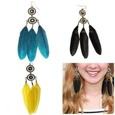 Vintage Boho Handmade Feather Dream Catcher Crystal Rhinestone Earrings