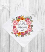 Mother Father of the Groom Wedding Gift Favor Personalized Handkerchief Hankie