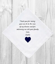Father / Mother of the Groom Wedding Gift Favor Personalized Handkerchief Hankie