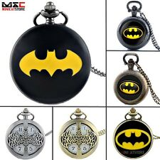 Antique Batman Style Retro Hollow Pocket Watch Quartz Pendant Necklace Mens Gift