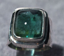 Green Tourmaline 13.76ct Cabochon Handcrafted Sterling Silver Gemstone Ring