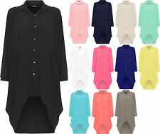 Ladies Womens Button Hi Lo Long Sleeve Collared Chiffon Shirt Dress Top 12-24