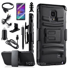 Rugged Hybrid Hard Case Cover+Belt Clip Holster Stand For Samsung Galaxy Note 4
