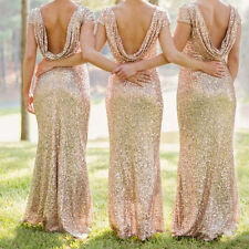 Sexy Women Ladies Sequin Backless Bridesmaid Party Evening Cocktail Long Dress