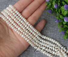 SP0227  5-6MM White Rondelle Freshwater pearl loose Beads 15''