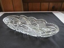 VTG Cut Glass Crystal Pickle Celery Condiment Oval Dish Star & Textured Design