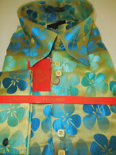 Mens Yellow & Teal Flower Pop French Cuff Super Collar Leonardi Shirt Style 332