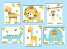 Safari Animal Nursery Wall Art Prints or Decals Boy Jungle Stickers Room Decor