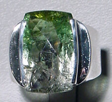 Green Tourmaline Faceted Bi-Color Sterling Silver Ring