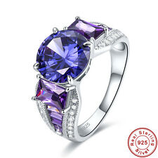Free Jewelry Box AAA Tanzanite White Topaz 925 Sterling Silver Ring Size 6 7 8 9