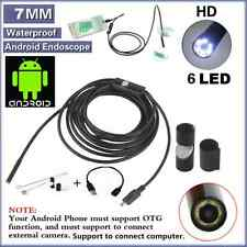 Waterproof 6LED 7mm Android Endoscope Borescope Snake Inspection Camera Scope SY