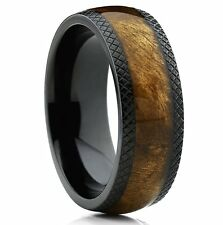 8mm Dome Black Titanium Wedding Band Ring with Real Marble Brown Wood Inlay..