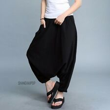 Women Drop Crotch Harem Trousers Pants Loose Wide Leg Baggy Gypsy Genie Hip Hop