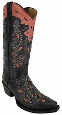 Women's New Studded Distressed Leather Cowgirl Western Boots Snip Black Pink