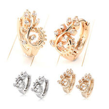 Womens Yellow Gold Filled Crystal Small Leaf Hoop Earrings Small Earings Fashion