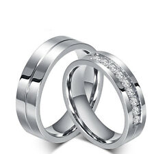New CZ Couple Rings Titanium Steel Lover's Her and His Wedding Promise Band Gift