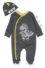Baby Boys Dinosaur Sleepsuit and Cradle Cap Grey and Yellow NB to 9-12M