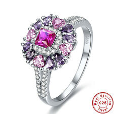 Free Jewelry Box Ruby & Pink Topaz Amethyst S925 Sterling Silver Ring Sz 6 7 8 9