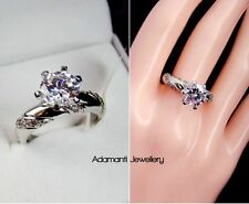 18K White Gold GP 2ct Round Cut CZ Crystal Engagement Ring w/ Gift Box
